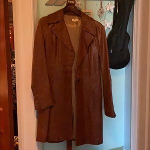 June sz sm brown leather coat